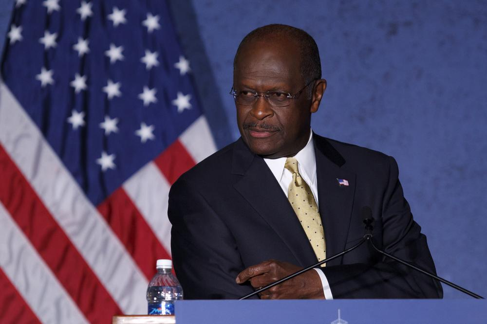 Republican presidential candidate, businessman Herman Cain delivers a speech about foreign policy at Hillsdale College in Hillsdale, Mich. (AP)