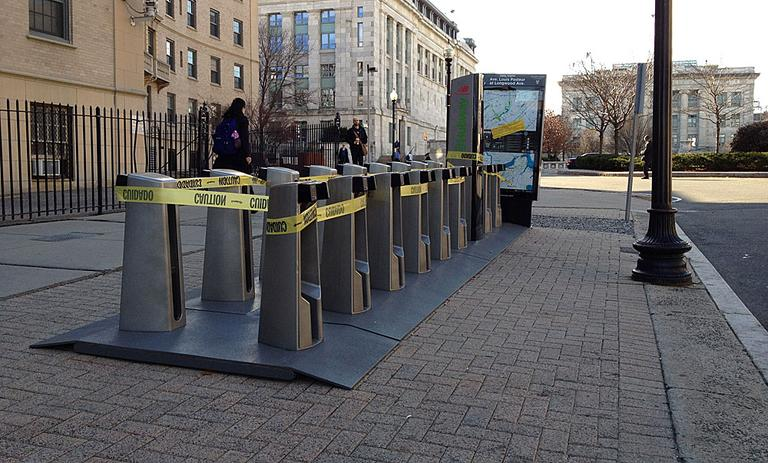 A Hubway stop along Longwood Avenue is shuttered for the winter. (Adam Ragusea/WBUR)
