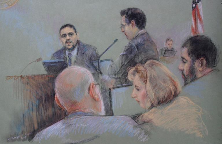 Kareem Abu-zahra testifies for Wednesday in Boston federal court. (Margaret Small for WBUR)