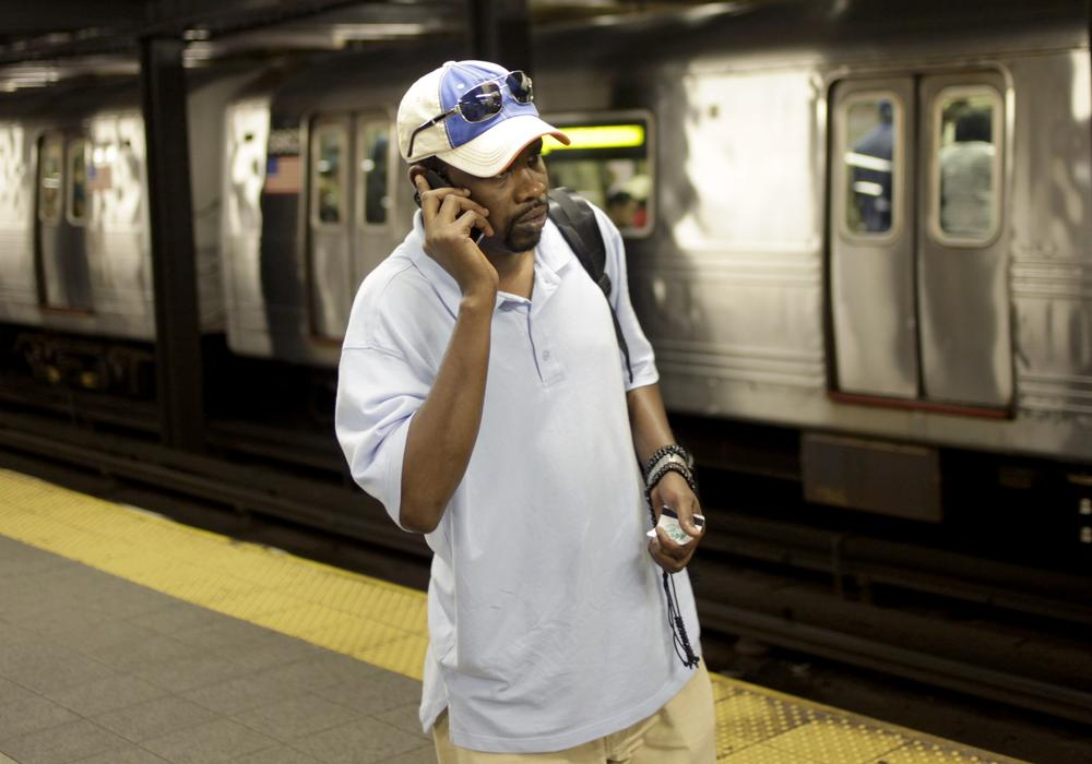 Mory Bailo Aw called from a subway platform to get some last minute directions to a friends house in New York, Tuesday, Sept. 27, 2011.  (AP)