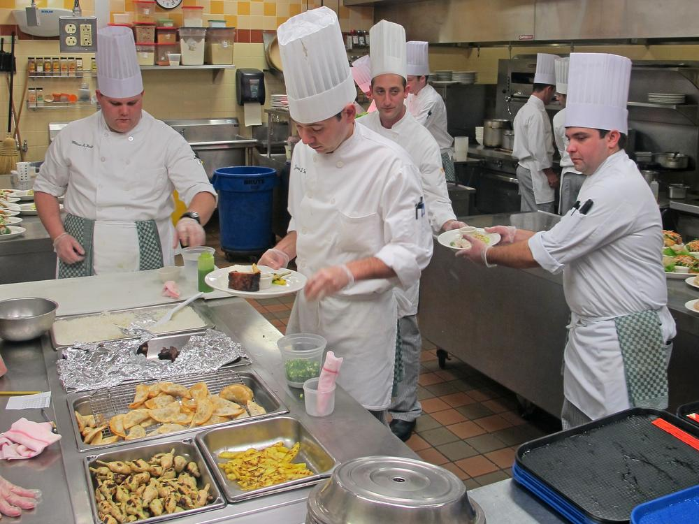 Part of Culinary Institute of America students' training involves preparing lunch for their fellow students.  (Doug Tribou/Only A Game)