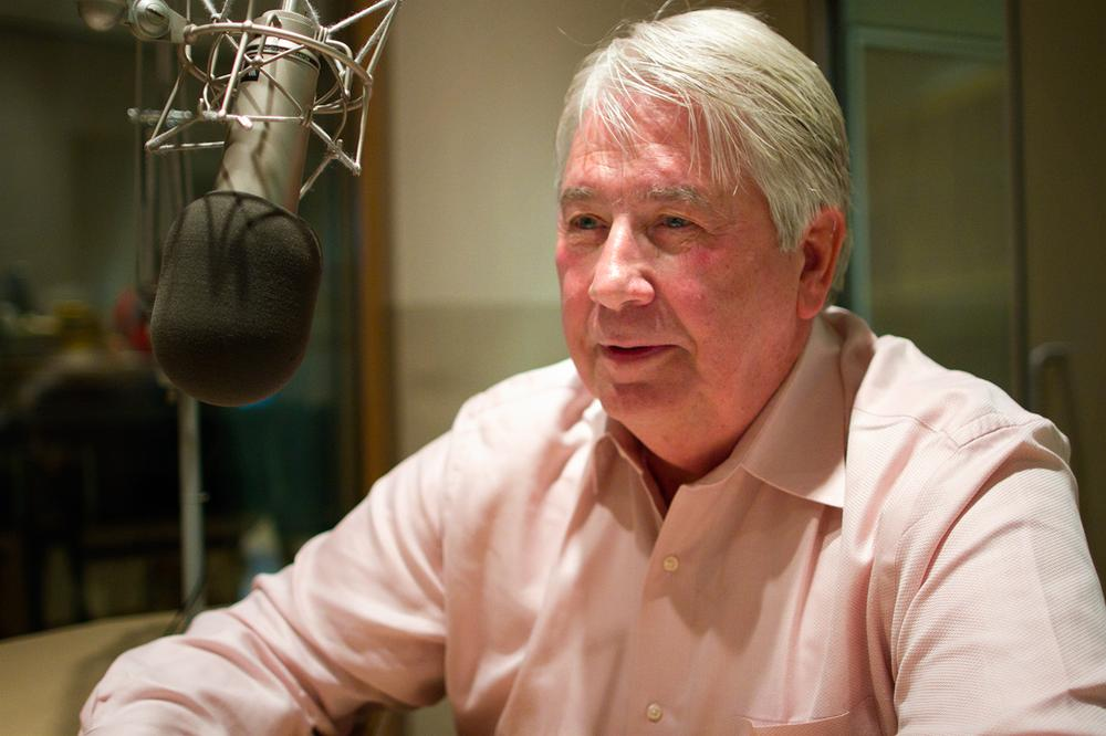 Ron Scott, Mitt Romney's distant cousin and the author of a new book on the candidate (Jesse Costa/WBUR)