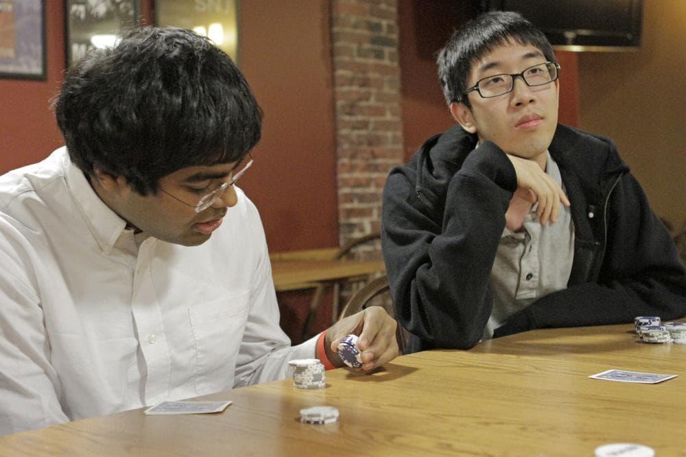 Prateek Chadha and Edward Chu ponder their next moves.  (Jesse Costa/WBUR)