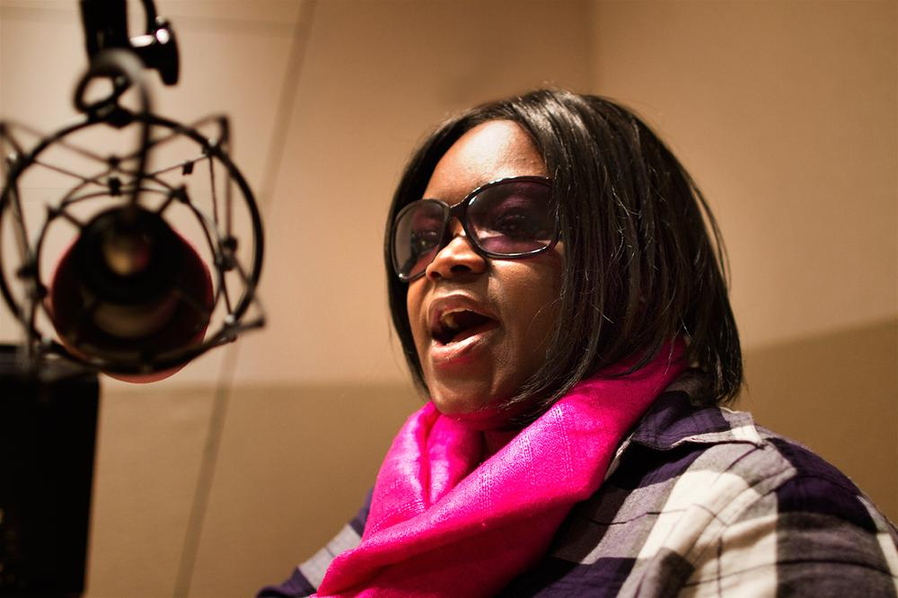 BlueS singer Shemekia Copeland in the Radio Boston studios. (Jesse Costa/WBUR)