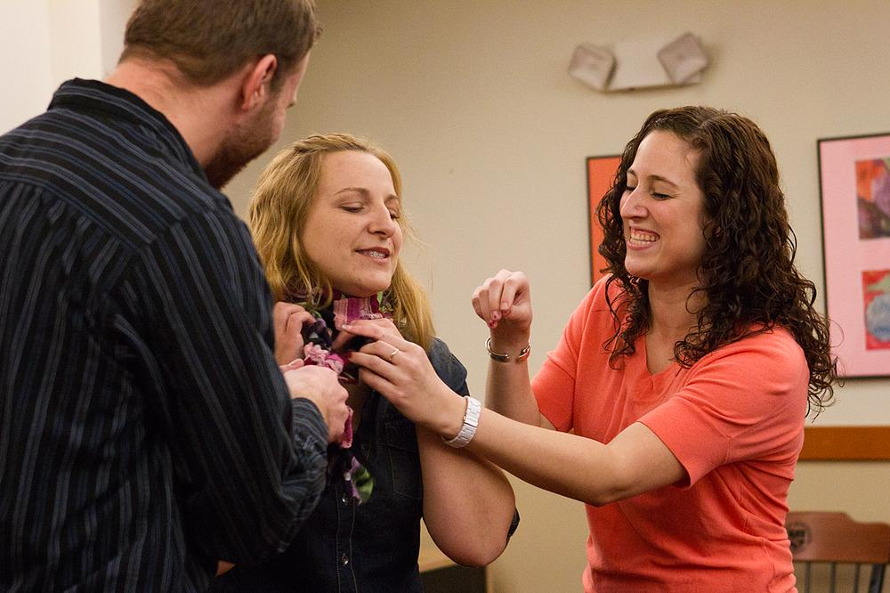 From left: Bryce Read, Deana Tolliver and Emily Holland perform a scene. (Jesse Costa/WBUR)