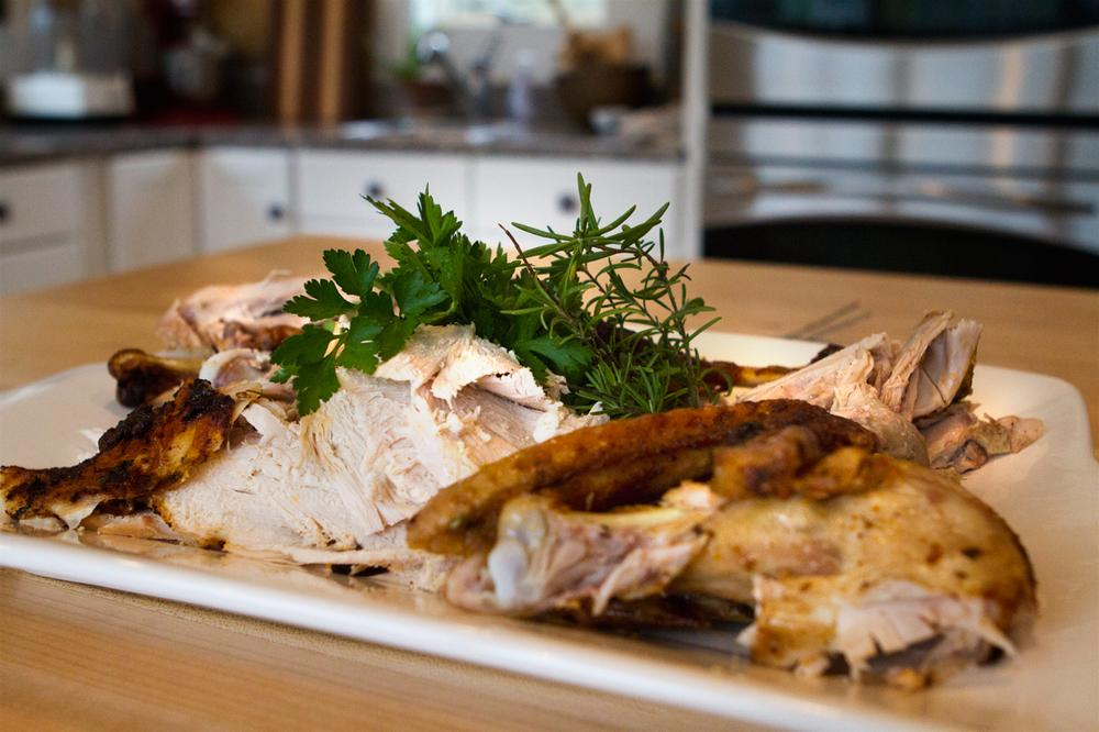 Chef Kathy Gunst's roast turkey. (Jesse Costa/Here & Now)