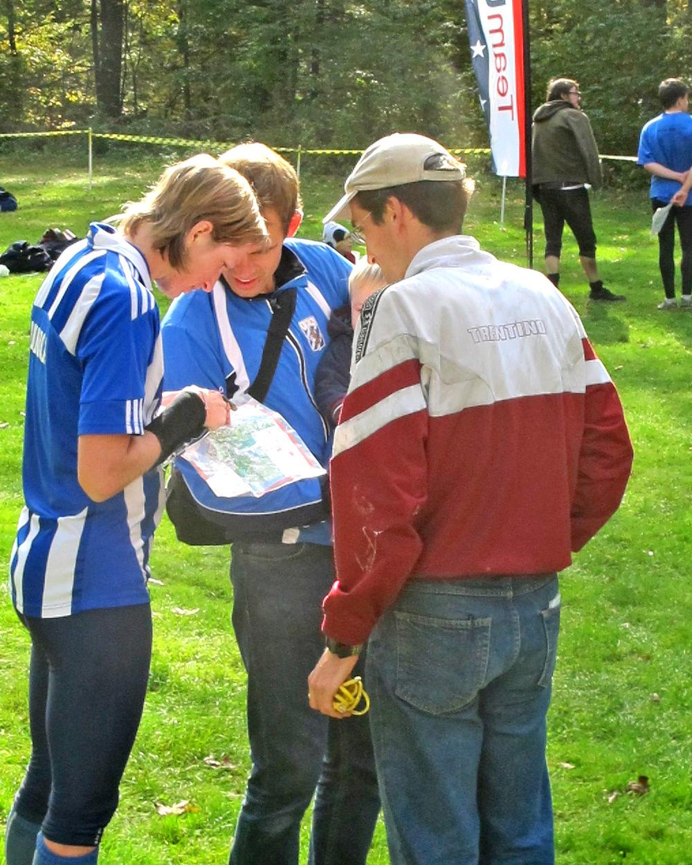 Annica Eng (l) and her husband Jakob (c) traveled from Sweden for the event. Orienteering is more popular in Europe than in the U.S. (Doug Tribou/Only A Game)