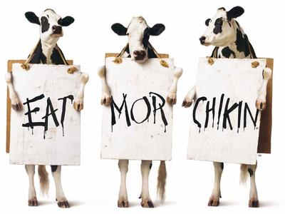 "The Chik-fil-A ""Eat Mor Chikin"" ad campaign whose patent the company says is being violated by Mr. Muller-Moore's ""Eat More Kale"" campaign. (Chik-fil-A)"