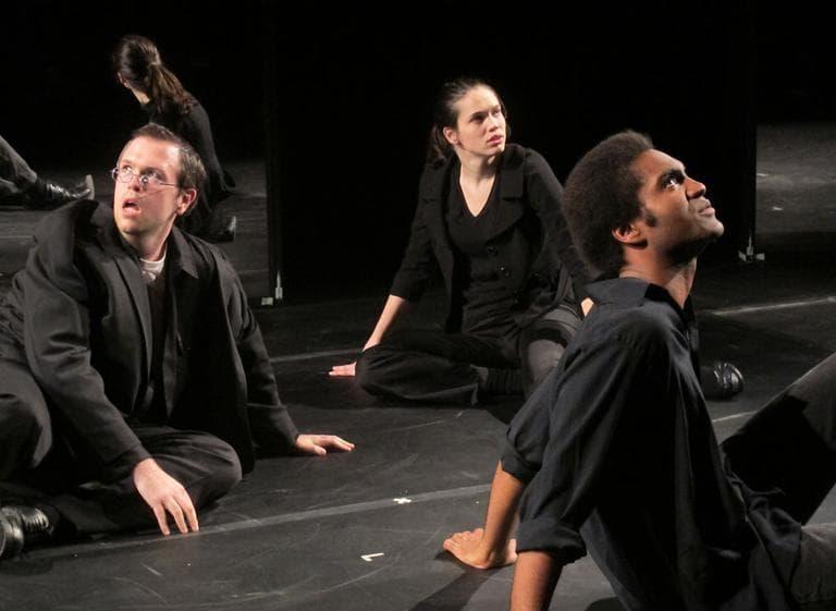 """Actors in the opening scene of """"Hamlet"""" (Andrea Shea/WBUR)"""
