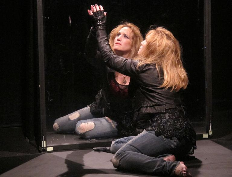Psych Drama Company founding director Dr. Wendy Lippe takes on a contemporary, psychologically charged spin as the lead role, a lesbian Hamlet. (Andrea Shea/WBUR)