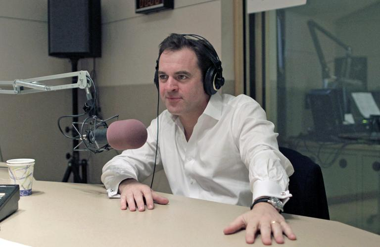 Niall Ferguson in the studio with On Point's Tom Ashbrook. (Alex Kingsbury/WBUR)
