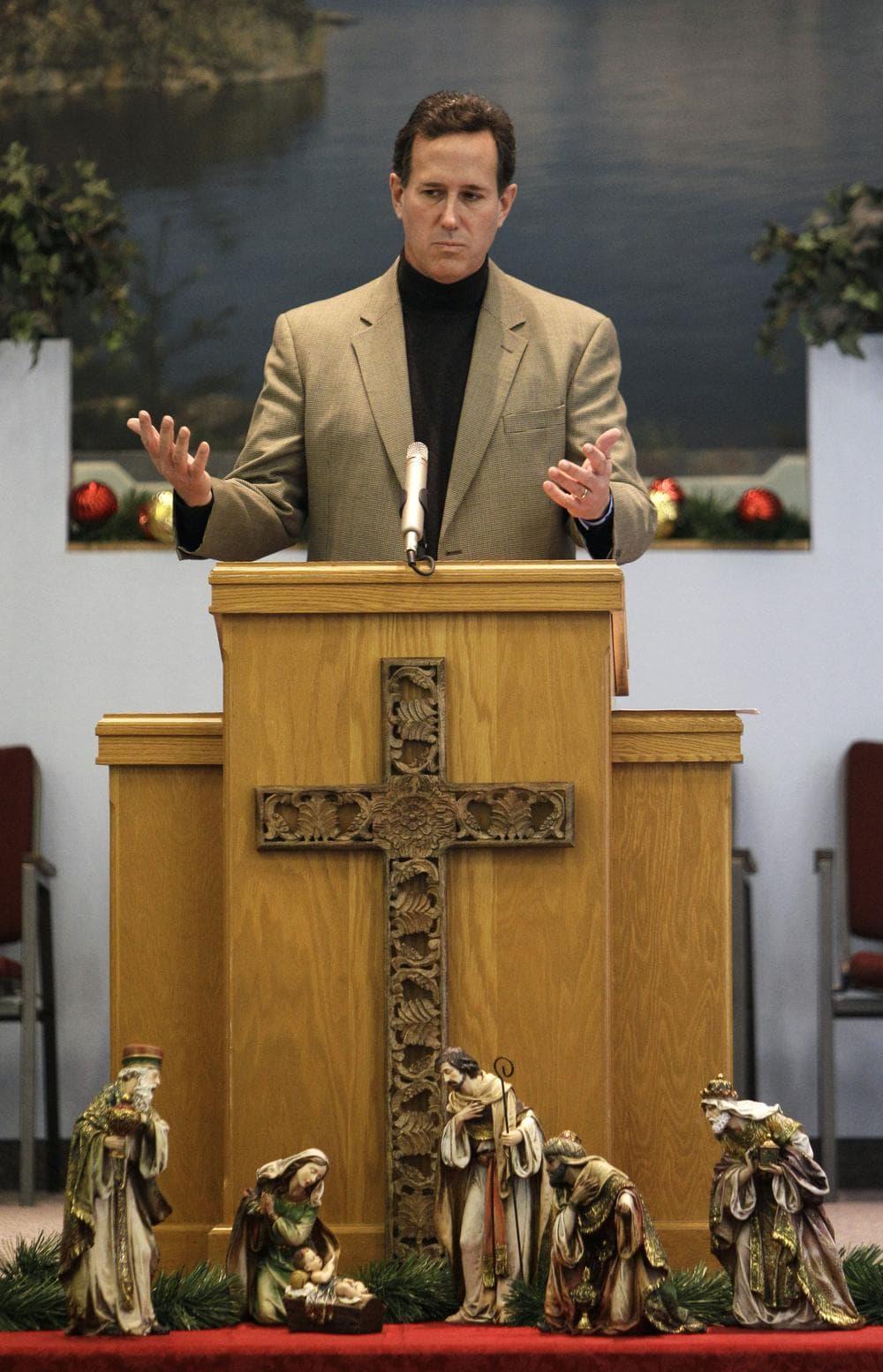 Republican presidential hopeful former Pennsylvania Senator Rick Santorum speaks at the Tabernacle Baptist Church, Sunday in Coralville, Iowa. (AP)