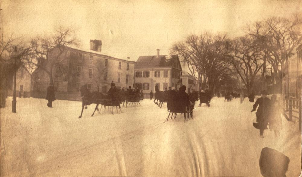 "Sleigh races on Salem Street in Medford, thought to have inspired Pierpont's ""Jingle Bells."" Circa 1883. (Courtesy of the Medford Historical Society)"