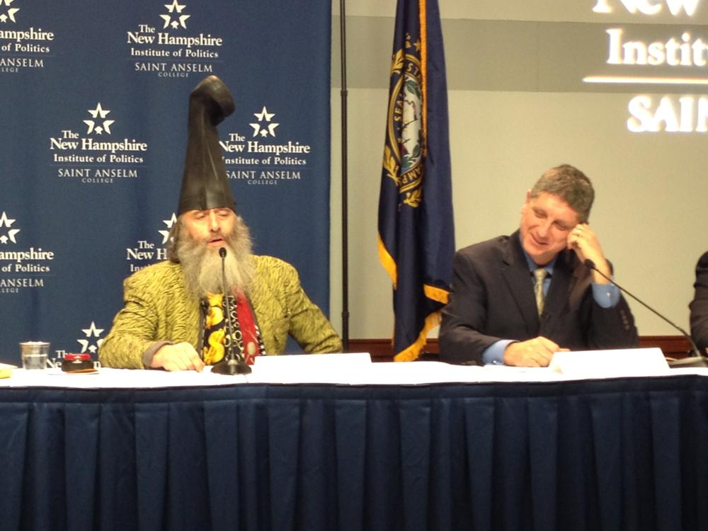 Candidates at the New Hampshire Institute of Politics 2011 Lesser-Known Candidate Forum Monday night. Democratic candidates Vermin Supreme (left) and Randall Terry (right).