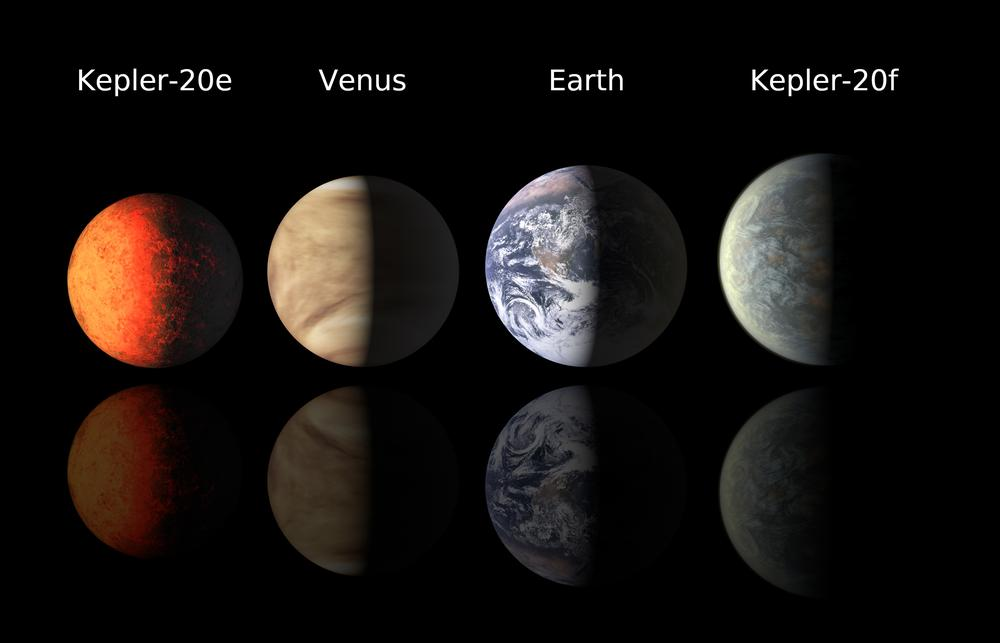 This illustration shows artist's renderings of planets Kepler-20e and Kepler-20f compared with Venus and the Earth. Scientists have found the two Earth-sized planets orbiting a distant star, an encouraging sign for prospects of finding life elsewhere. (AP/Harvard-Smithsonian Center for Astrophysics)