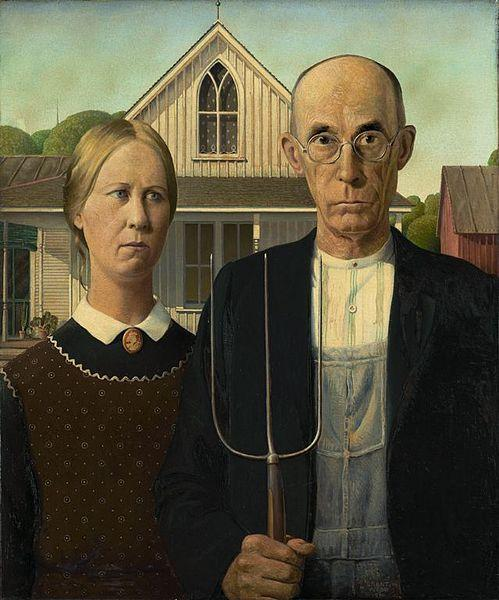 American Gothic, by Grant DeVolson Wood, created in 1930 and sold to the Art Institute of Chicago. Bloom compares his writing to Wood's painting.