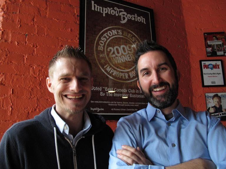 Dana Jay Bein, left, and Zach Ward of ImprovBoston. (Andrea Shea/WBUR)