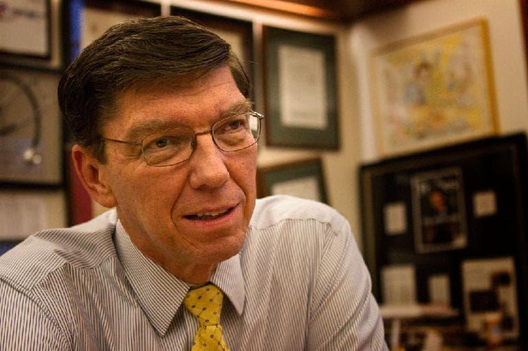 Romney friend Clayton Christensen, a fellow Mormon and a professor at Harvard Business School (Jesse Costa/WBUR)