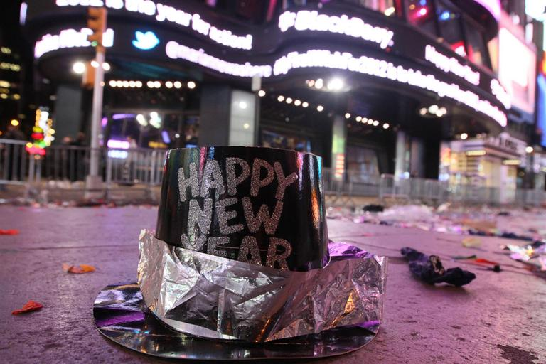 A New Year's hat among other debris in Times Square after 2012 New Year's Eve celebrations. (AP)