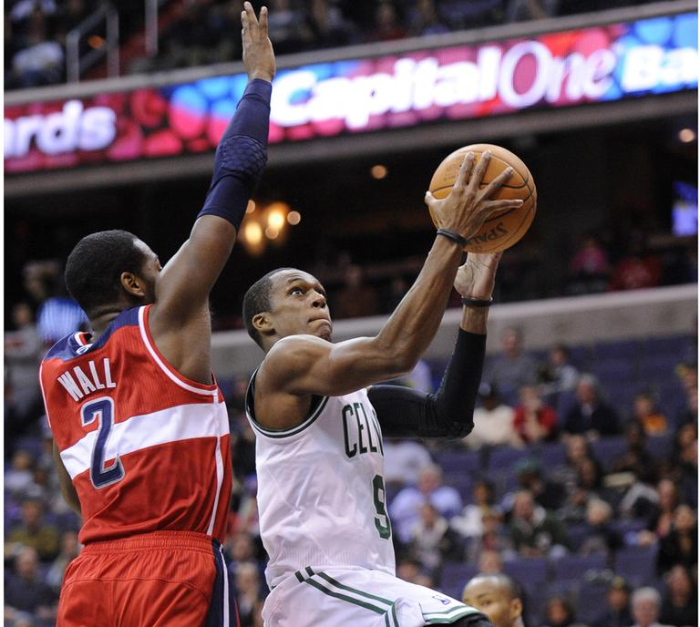 Rajon Rondo drives to the hoop against the Wizards. (AP)