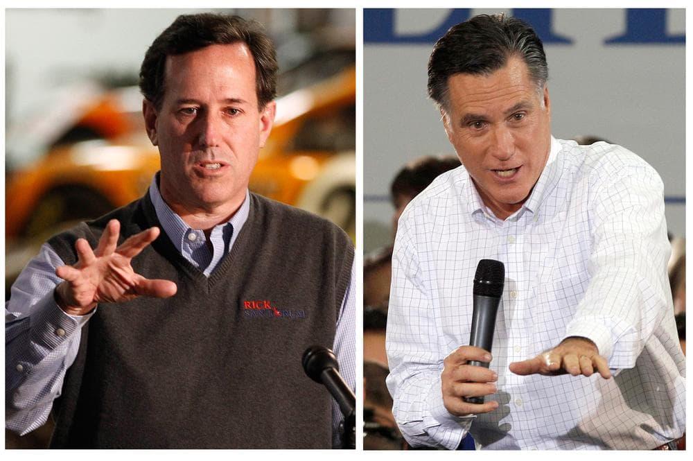 Republican presidential candidate, former Pennsylvania Sen. Rick Santorum, left, and right, Republican presidential candidate former Massachusetts Gov. Mitt Romney. (AP)