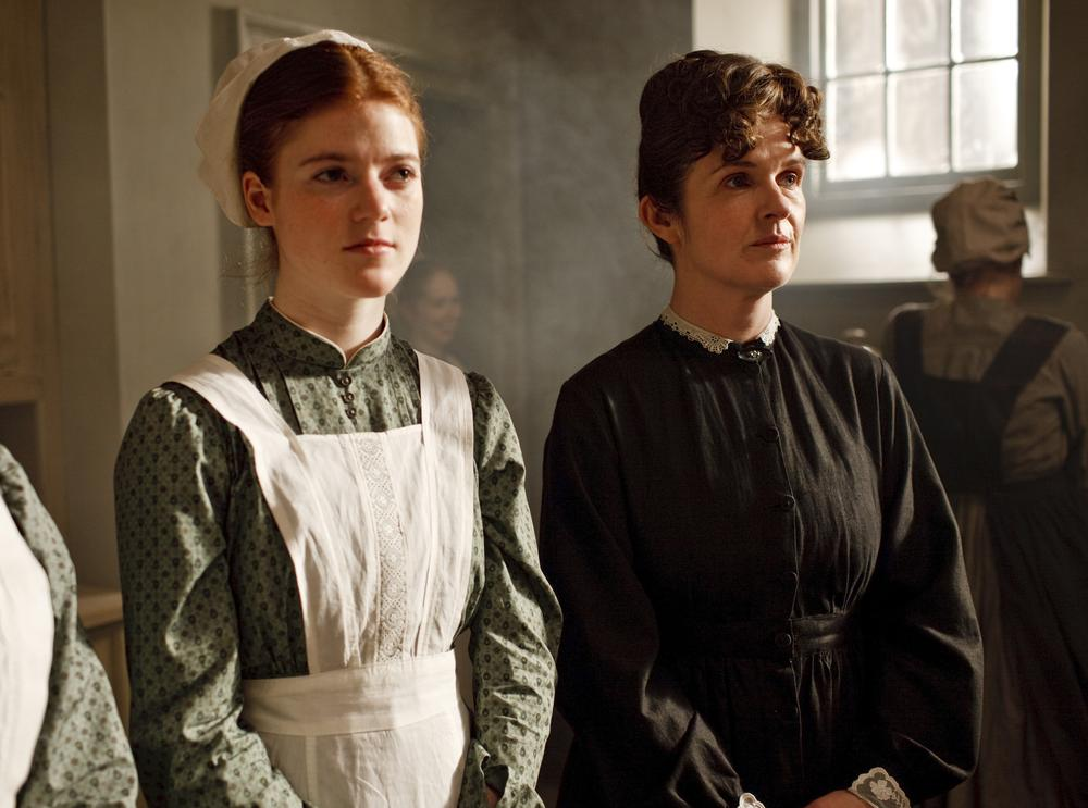 "Rose Leslie, left, and Siobhan Finneran are shown in a scene from ""Downton Abbey,"" a four-part drama about life in an English country estate. (AP/PBS)"