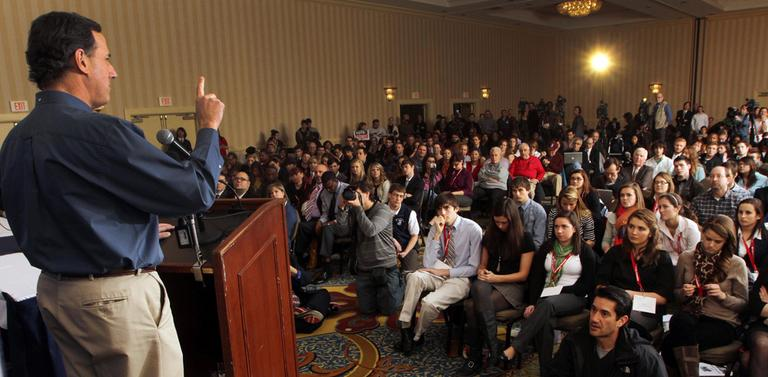 Sen. Rick Santorum at a campaign stop with college students in Concord, N.H., on Thursday (AP)