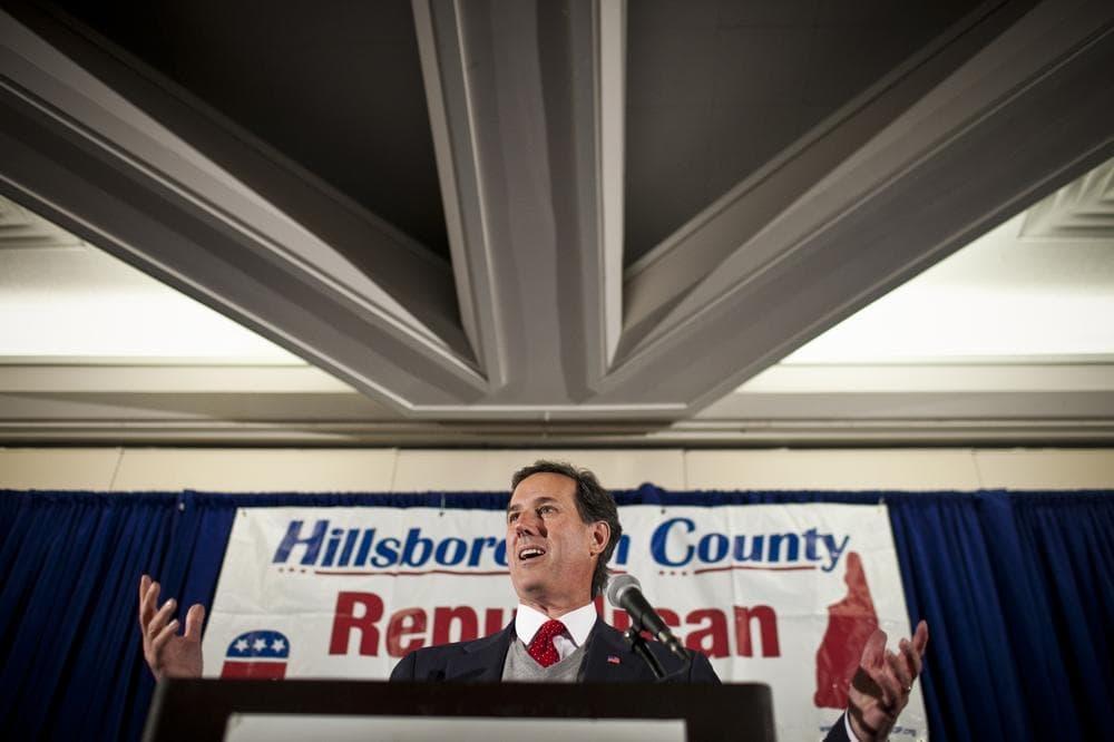Sen. Rick Santorum campaigns in Nashua, N.H. on Friday. (WBUR/Dominick Reuter)