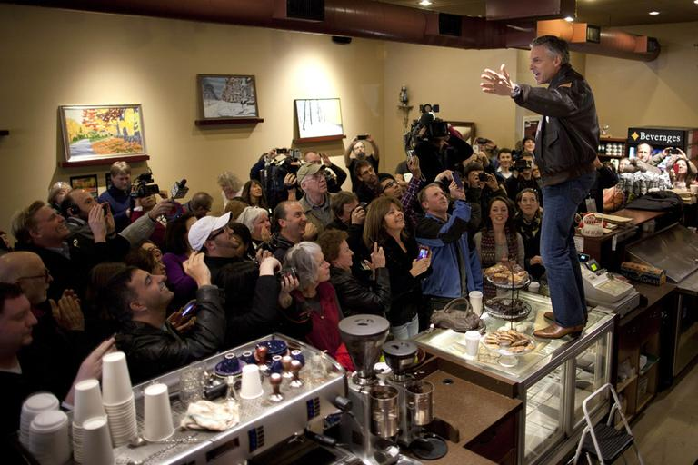 Republican presidential candidate, former Utah Gov. Jon Huntsman, stands on a counter during a campaign stop at the Bean Towne Coffee House on Sunday, Jan. 8 in Hampstead, N.H.  (AP)