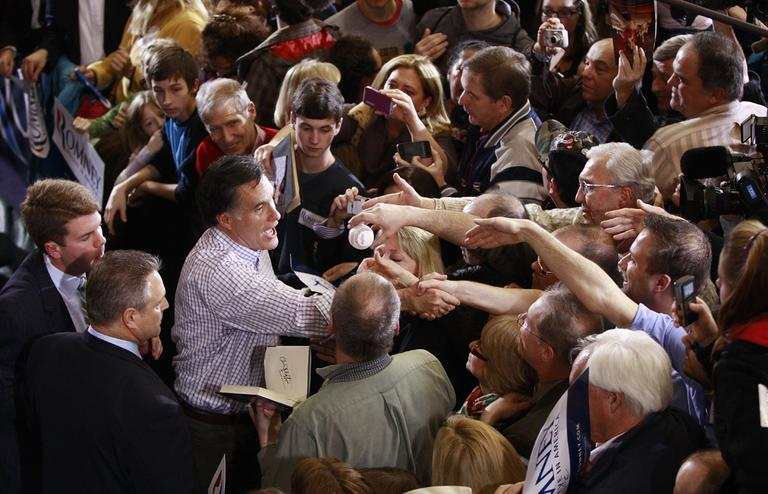 Republican presidential candidate, former Massachusetts Gov. Mitt Romney, campaigns at Exeter High School in Exeter, N.H., Sunday, Jan. 8, 2012. (AP)