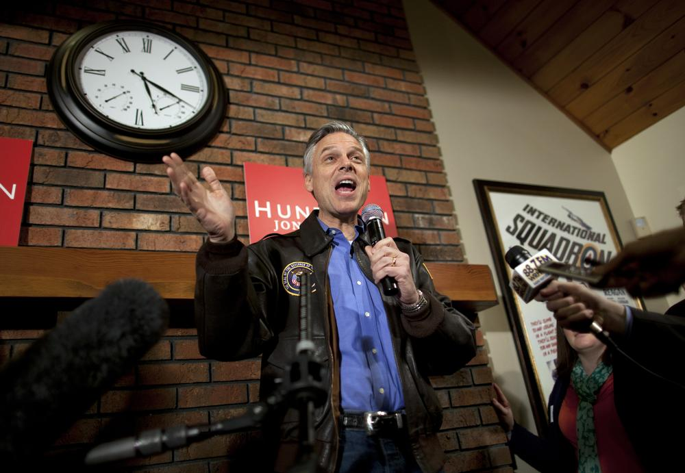 Republican presidential candidate, former Utah Gov. Jon Huntsman speaks at a house party in Bedford, N.H. (AP)