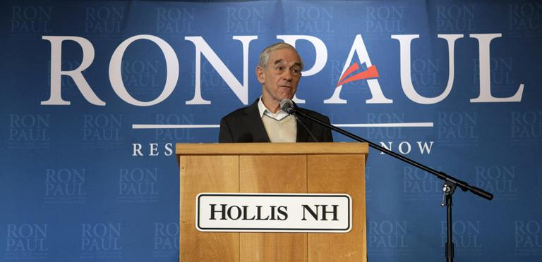 Republican presidential candidate, Rep. Ron Paul, R-Texas, speaks at the Hollis Community Center in Hollis, N.H. on Monday. (AP)