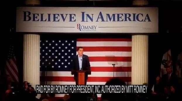 A screengrab of a recent pro-Mitt Romney political advertisement. (youtube.com)