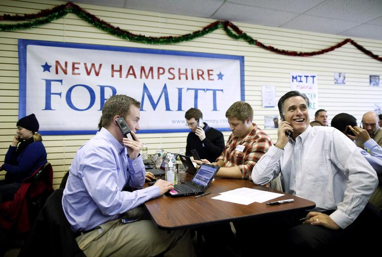 Former Massachusetts Gov. Mitt Romney calls likely voters ahead of Tuesday's primary election on Monday. (AP)