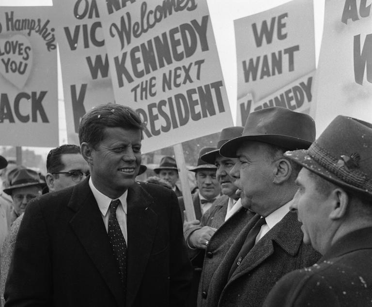 Sen. John F. Kennedy arrives in Nashua, N.H. on Jan. 25, 1960. (AP)