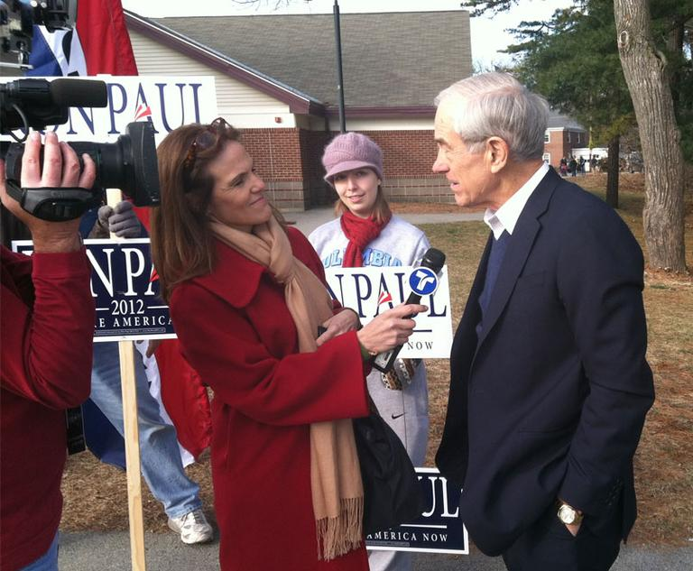 Ron Paul is interviewed at the Amherst Street School polling place in Nashua, N.H. (Steve Brown/WBUR)