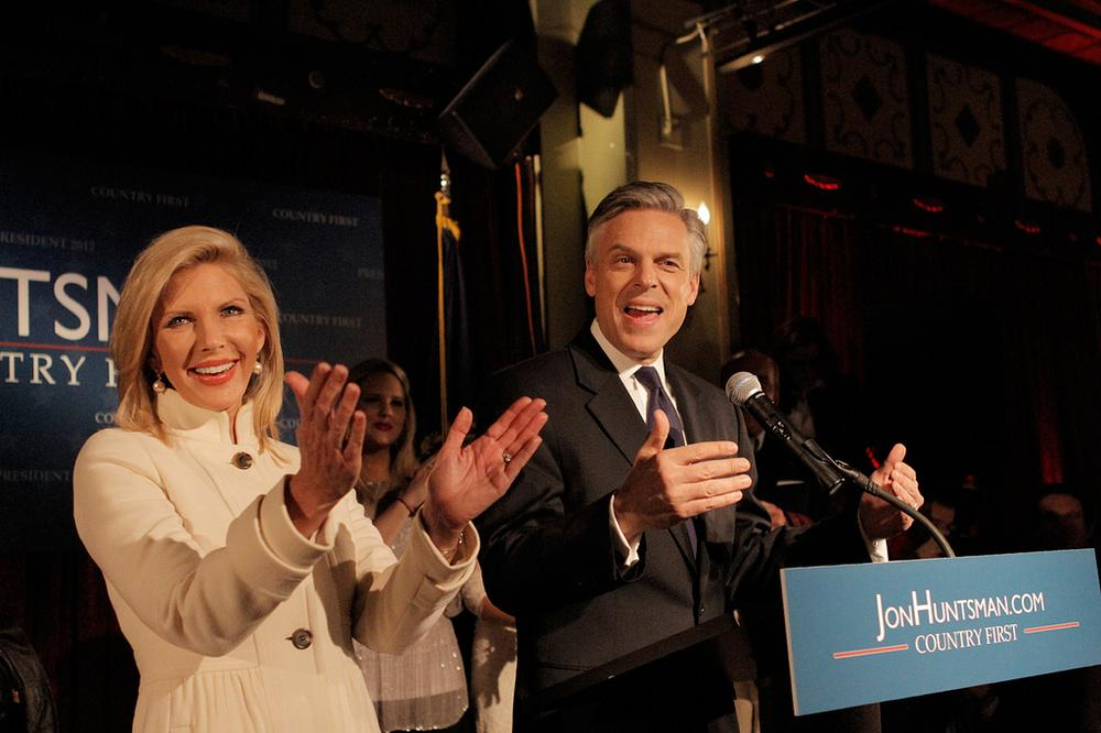 Republican presidential candidate Jon Huntsman and his wife Mary Kaye at his New Hampshire primary night party in Manchester, N.H., Tuesday (Jesse Costa/WBUR)