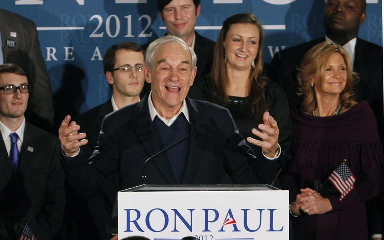 Republican presidential candidate, Rep. Ron Paul, R-Texas, speaks to supporters during an election night really in Manchester, N.H., Tuesday. (AP)