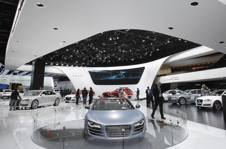 The Audi R8 GT is displayed on the floor at the North American International Auto Show in Detroit, Tuesday, Jan. 10, 2012. (AP)
