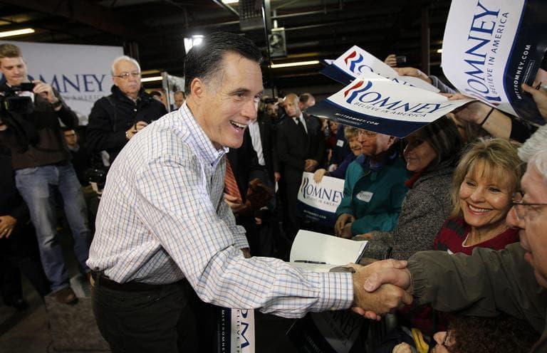 Former Massachusetts Gov. Mitt Romney campaigns at Cherokee Trike and More in Greer, S.C., on Thursday. (AP)
