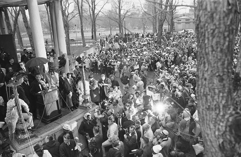 Dr. Martin Luther King Jr., addresses civil rights marchers on the Boston Common April 23, 1965 after a march from the Roxbury. (AP)