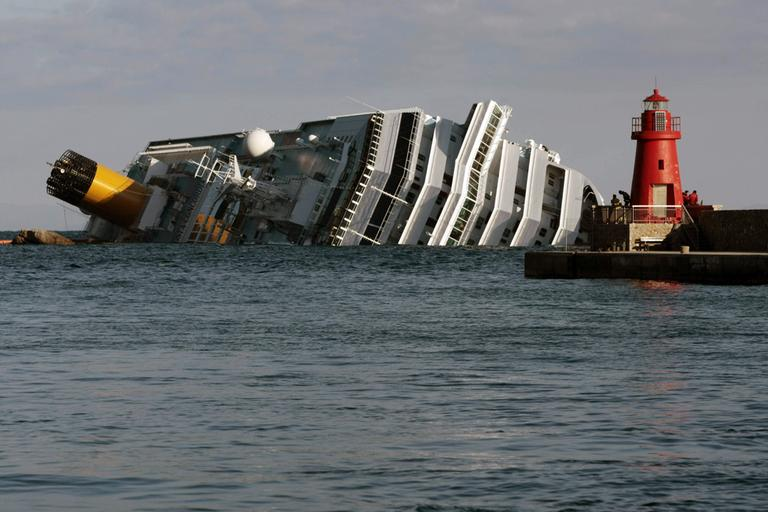 The cruise ship Costa Concordia leans on its side  on Jan. 17, after running aground on the tiny Tuscan island of Giglio, Italy, on Jan. 13. (AP)