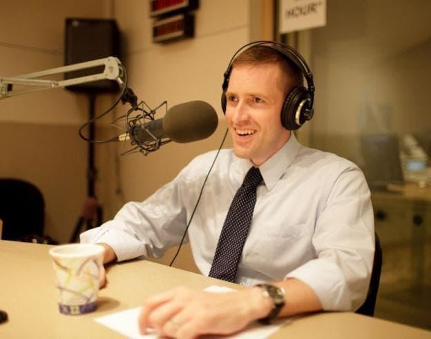 Republican candidate Sean Bielat at WBUR studios in October 2010 (WBUR File)