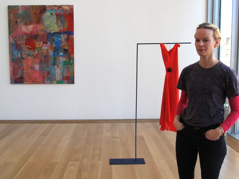 """Scottish visual artist Victoria Morton. The work in the exhibition """"Tapestry (Radio On)"""" was inspired by her stint as an artist-in-residency. (Andrea Shea/WBUR)"""