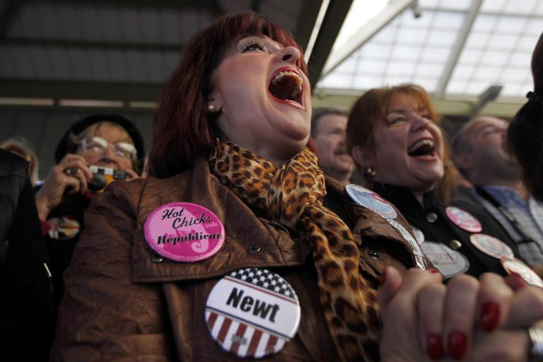 A supporter of Republican presidential candidate, former House Speaker Newt Gingrich reacts, Thursday, Jan. 19, 2012, in Beaufort, S.C. (AP)