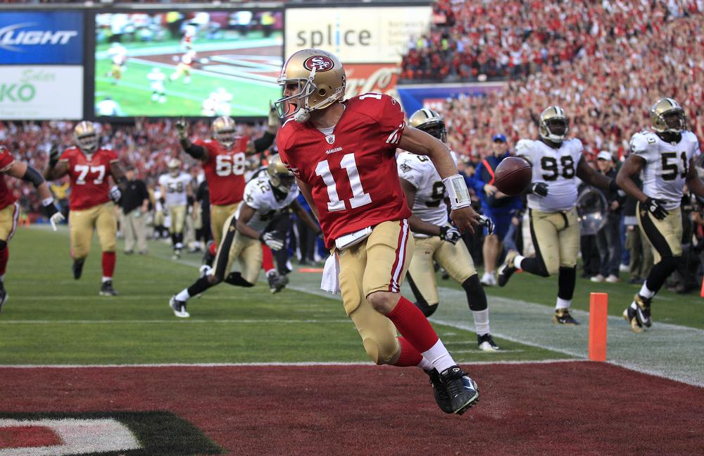49ers quarterback Alex Smith played perhaps his best game of the season last week in a win over New Orleans. Sunday he faces a daunting New York defensive front. (AP)