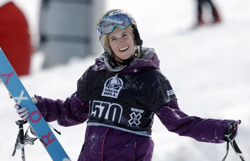 In a Jan. 2010 file photo, Sarah Burke reacts after failing to place in the top three in the slopestyle skiing women's final at the Winter X Games near Aspen. (AP)