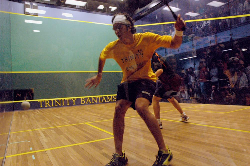 Trinity College's Manek Mathur returns a shot in a 2008 match against Princeton University. The match was one of 252 consecutive victories for Trinity, a streak which was broken this week. (AP)