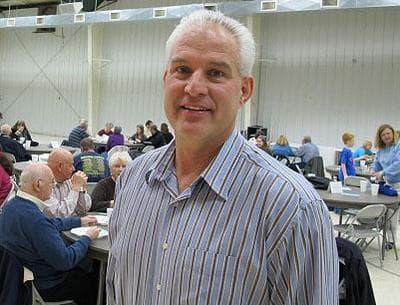 Rev. Rob Jackson, senior pastor of the Forestville Baptist Church in Greenville, S.C., at a Wednesday night supper (Monica Brady-Myerov/WBUR)