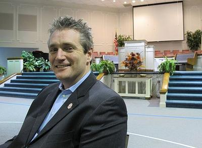 Rev. Brad Atkins, president of the South Carolina Baptist Convention (at his Powdersville Baptist Church), doesn't believe Mormons are Christians. (Monica Brady-Myerov/WBUR)